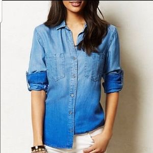 Cloth and Stone Ombre Chambray Shirt Size Medium